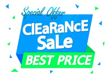 Clearance Sale, special offer tag, discount banner design template, best price, vector illustration