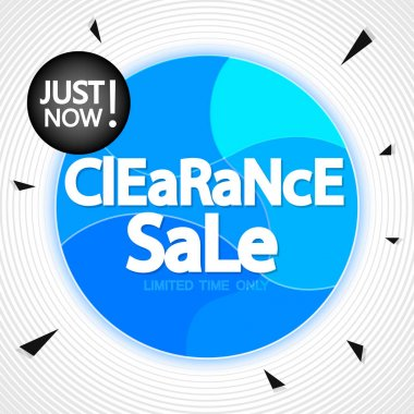 Clearance Sale, offer tag, discount banner design template, just now, vector illustration