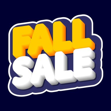 Fall Sale, poster design template, isolated sticker, Autumn discount, vector illustration