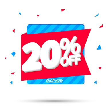 Sale 20% off, discount banner design template, promo tag, vector illustration
