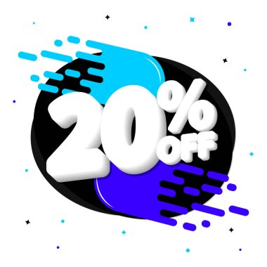 Sale 20% off, discount banner design template, promo tag, vector illustration