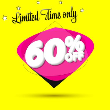 Sale 60% off, bubble banner design template, discount tag, limited time only, vip offer, app icon, vector illustration