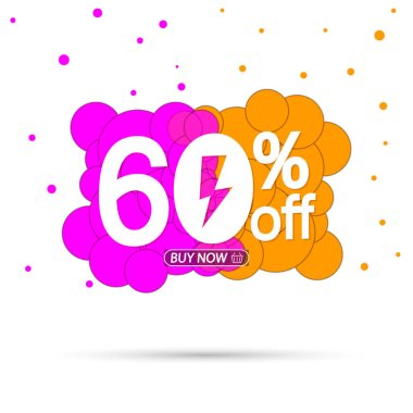 Flash Sale 60% off, bubble banner design template, discount tag, app icon, vector illustration