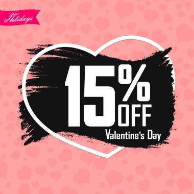 Valentines Day Sale, 15% off, banner design template, discount poster, grunge brush, vector illustration