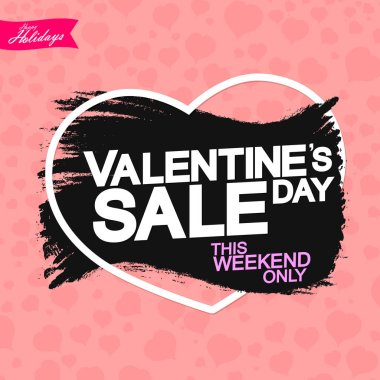 Valentines Day Sale, banner design template, discount poster, grunge brush, vector illustration