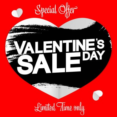 Valentines Day Sale, banner design template, discount poster, special offer, grunge brush, vector illustration