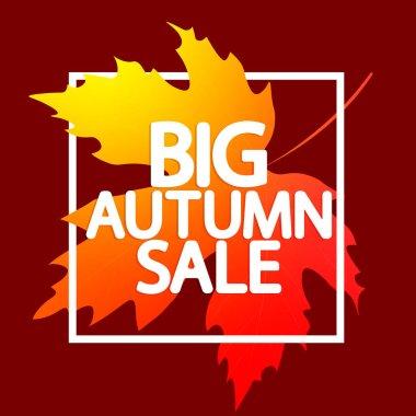 Big Autumn Sale, poster design template, Fall discount banner, vector illustration