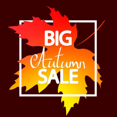 Big Autumn Sale, poster design template, Fall discount banner, vector illustration