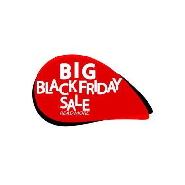 Big Black Friday Sale tag, bubble banner design template, app icon, vector illustration