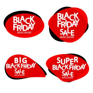 Set Black Friday Sales bubble banners design template, collection discount tags, app icons, vector illustration