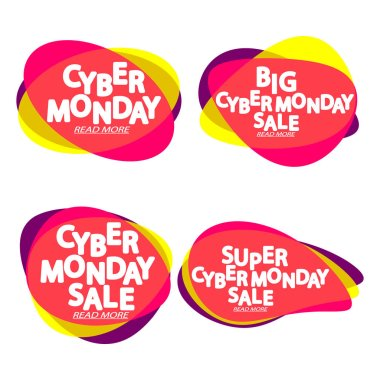 Set Cyber Monday Sales bubble banners design template, collection discount tags, app icons, vector illustration