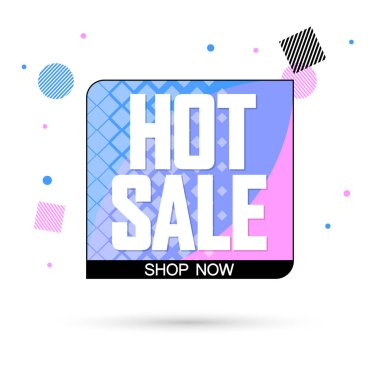 Hot Sale tag, bubble banner design template, app icon, vector illustration