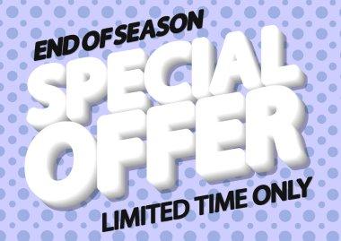 Special Offer, sale poster design template, end of season, horizontal banner, vector illustration