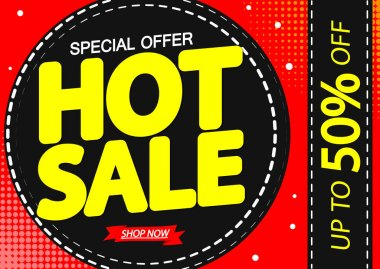 Hot Sale up to 50% off, poster design template, special offer, vector illustration