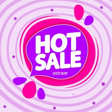 Hot Sale, tag design template, discount speech bubble banner, app icon, vector illustration
