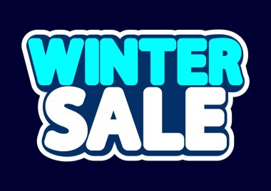 Winter Sale, poster design template, isolated sticker, discount banner, vector illustration