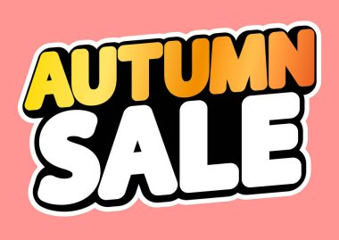 Autumn Sale, poster design template, isolated sticker, Fall discount, vector illustration