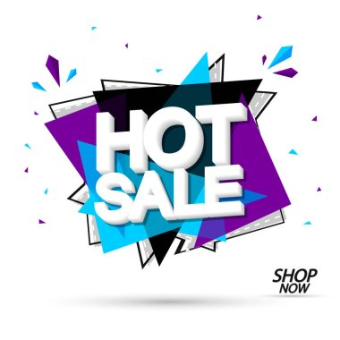 Hot Sale, promotion banner design template, discount tag, vector illustration