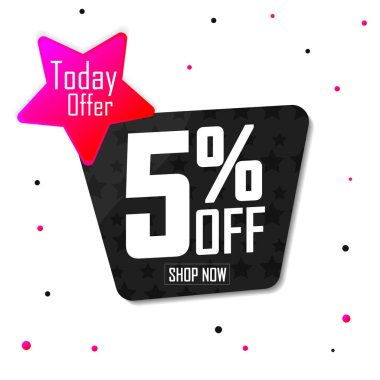 Extra Discount 5% off, sale banner design template, today offer, vector illustration