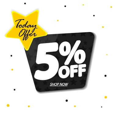 Extra Discount 5% off, sale banner design template,today offer, vector illustration