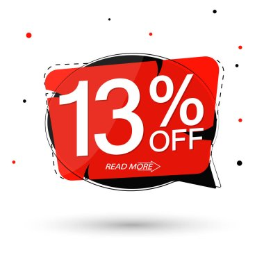 Sale 13% off tag, speech bubble banner design template, discount tag, app icon, vector illustration