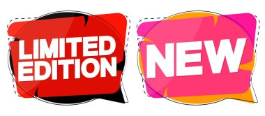 Limited Edition and New banners design template, speech bubble promotion tags, vector illustration