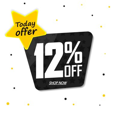 Sale 12% off, discount banner design template, promo tag, today offer, vector illustration