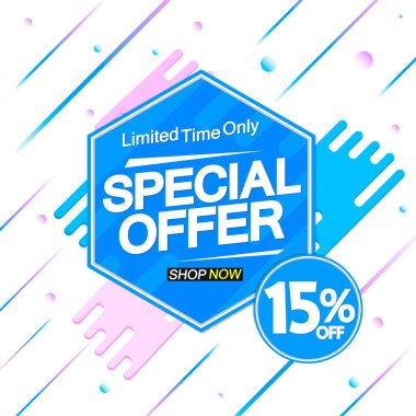 Special Offer, sale banner design template, discount 15% off, promo tag, app icon, vector illustration