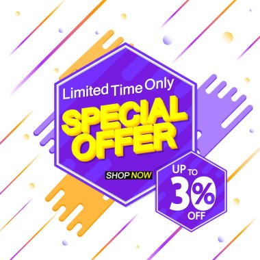 Special Offer, sale banner design template, discount 30% off, promo tag, app icon, vector illustration