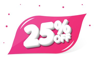 Sale 25% off, discount banner design template, promo tag, vector illustration