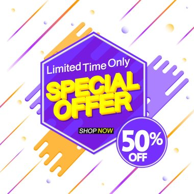 Special Offer, 50% off, sale banner design template, discount tag, app icon, vector illustration
