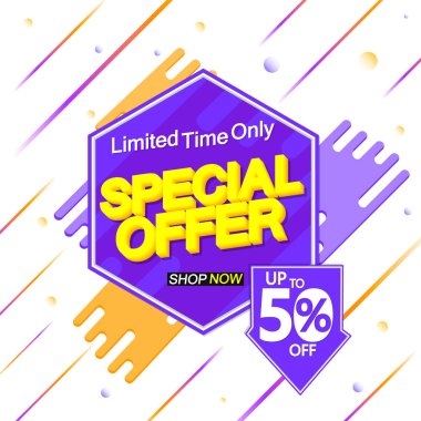 Special Offer, up to 50% off, sale banner design template, discount tag, app icon, vector illustration