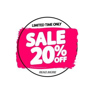 Sale 20% off, banner design template, discount tag, grunge brush, vector illustration