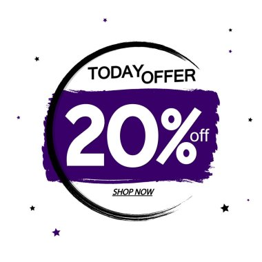Sale 20% off, banner design template, discount tag,today offer, grunge brush, vector illustration