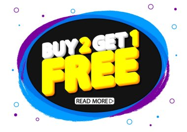Buy 2 Get 1 Free, Sale banner design template, grunge brush, discount tag, speech bubble, app icon, vector illustration