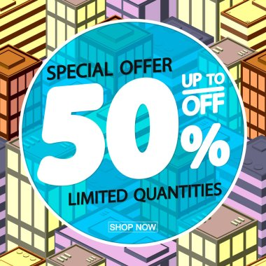 Sale 50% off, poster design template, discount banner, special offer, vector illustration