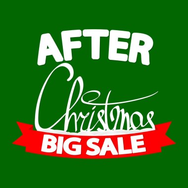 After Christmas Sale, banner design template, Xmas discount tag, special offer, red ribbon, vector illustration