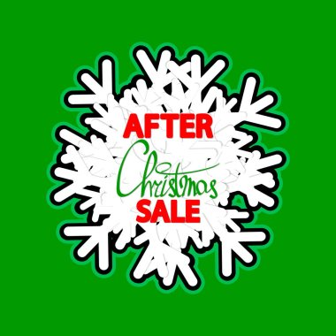 After Christmas Sale, banner design template, Xmas discount tag, vector illustration