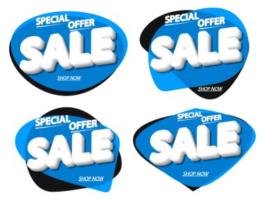 Set Sale bubble banners design template, discount tags, special offer, app icons, vector illustration
