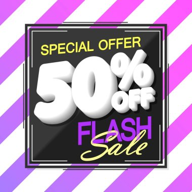 Flash Sale 50% off, poster design template, discount banner, special offer, vector illustration
