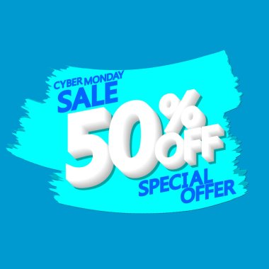 Cyber Monday Sale, 50% off, banner design template, discount tag, grunge brush, special offer, vector illustration