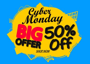 Cyber Monday Sale, 50% off, banner design template, discount tag, grunge brush, big offer, vector illustration