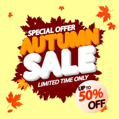 Autumn Sale, up to 50% off, Fall discount tag, banners design template, Thanksgiving Day, app icon, vector illustration