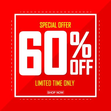 Sale 60% off, poster design template, discount banner, special offer, vector illustration