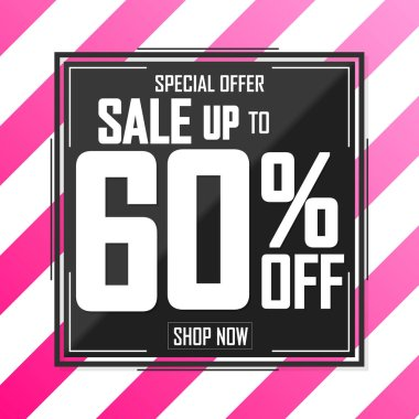 Sale up to 60% off, poster design template, discount banner, special offer, vector illustration