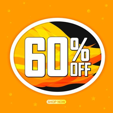 Hot Sale 60% off, banner design template, discount tag, app icon, vector illustration