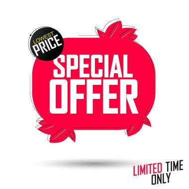 Special Offer, Autumn sale banner design template, discount tag, app icon, lowest price, vector illustration