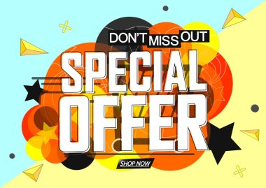 Special Offer, sale banner design template, discount tag, app icon, don't miss out, vector illustration