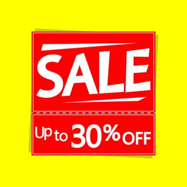 Sale up to 30% off, discount banner design template, offer tag, vector illustration