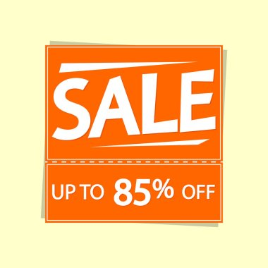 Sale up to 85% off, discount banner design template, offer tag, vector illustration